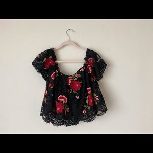 Olivaceous Tops - Black Lace Crop Top